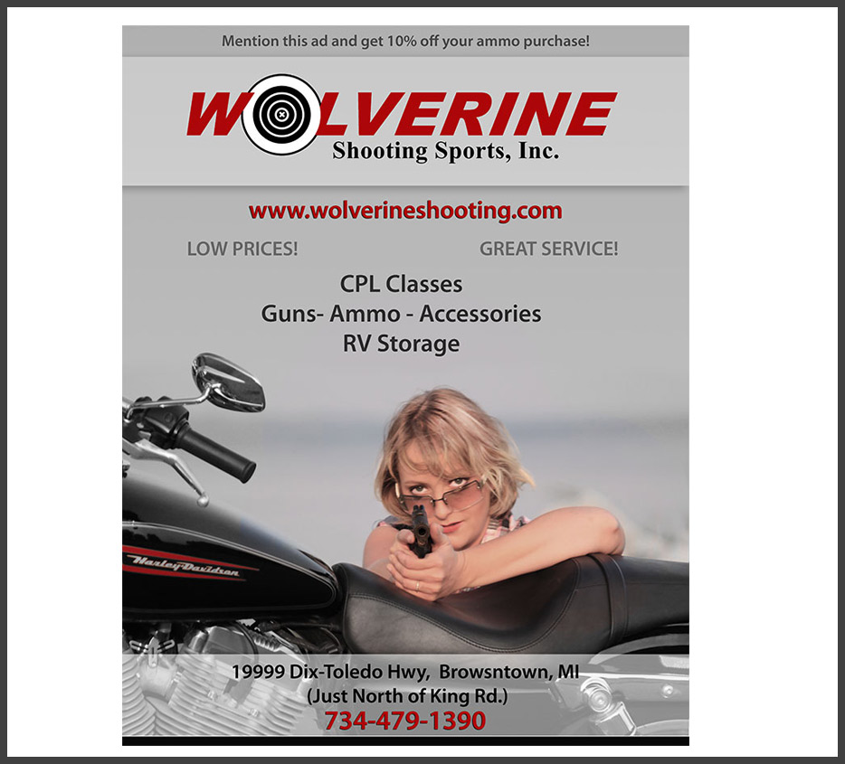 Wolverine Shooting Range and Supplies Print Advertisement